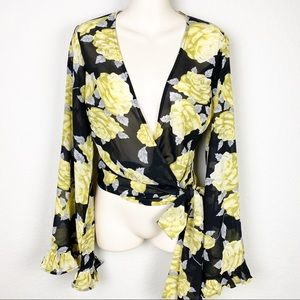 ASOS Floral Chiffon Wrap Tie Front Flare Sleeves